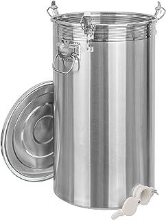 Edelstahl Honig Abfülleimer mit Quetschhahn Abfüllbehälter in 4 Varianten auswählbar 70kg, Kunststoff Quetschhahn