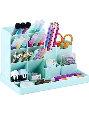 scuola multifunzionale/organizer da Scrivania POPRUN Portapenne per scrivania Organizzatore di trucco per ufficio casa blu
