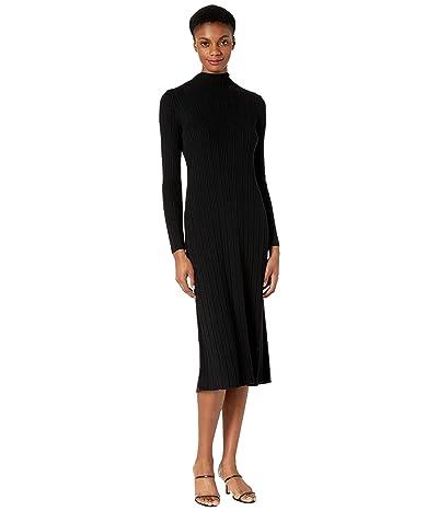 Vince Variegated Rib Turtleneck Dress (Black) Women