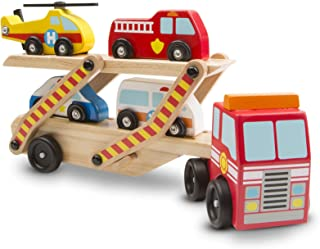 Melissa & Doug Emergency Vehicle Carrier (Two-Level Tractor-Trailer Truck Toy with 4 Vehicles, Great Gift for Girls and Boys - Best for 3, 4, 5, and 6 Year Olds)