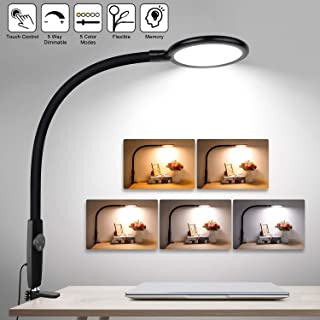 LED Desk Lamp Flexible Gooseneck, Touch Control Dimmable Metal Clamp Light with 5 Brightness Levels & 5 Color Modes, Memory Function, 10W Eye-Care Lamps for Office, Work, Reading, Study (Black)