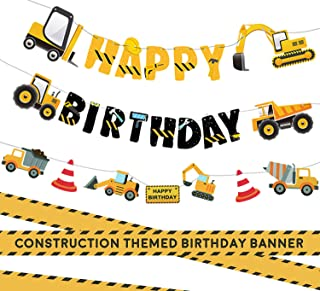 3 Packs Construction Happy Birthday Banner and Vehicle Truck Garland, Construction Party Supplies Decoration Set for Birth...