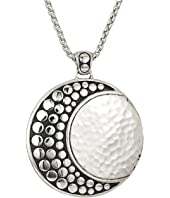 John Hardy - Dot Moon Phase Hammered Pendant On 2 mm. Box Chain Necklace