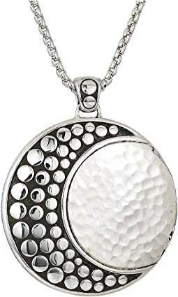 Dot Moon Phase Hammered Pendant On 2 mm. Box Chain Necklace