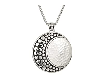 John Hardy Dot Moon Phase Hammered Pendant On 2 mm. Box Chain Necklace (Silver) Necklace