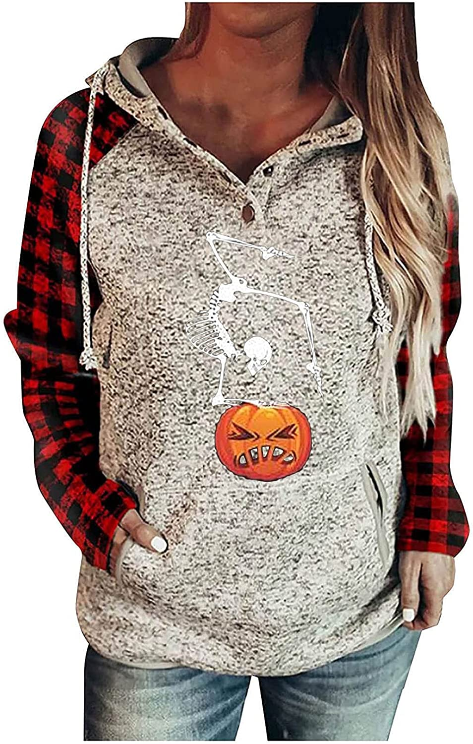 Women's Halloween PumPkin and Skull Graphic Hooded Plaid Long Sleeve Sweatshirt Button V Neck Tops Blouses With Pocket