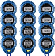 Pgzsy 12 Pack Multi-Function Electronic Digital Sport Stopwatch Timer, Large Display with Date Time and Alarm Function,Suitable for Sports Coaches Fitness Coaches and Referees