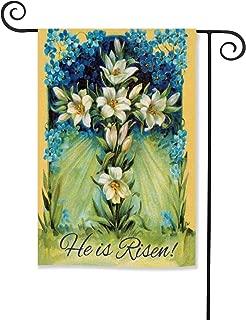 AVOIN Easter Flower Cross Double Sided Garden Flag Religious He is Risen 12.5 x 18 Inch Decorative House Flag for Outdoor Frontdoor Yard