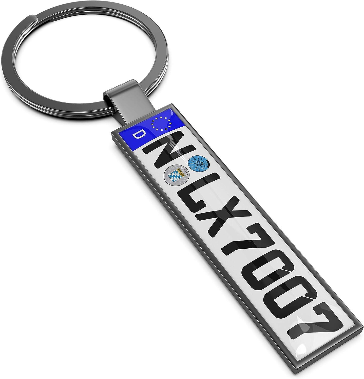 Persize Persönlicher Schlüsselanhänger Nummernschild Zum Beschriften Klein Farbe Grau Auto