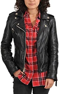 XinXinFeiEr Womens Motorcycle Sleeveless Washed Leather Motorcycle Jacket Coat Fitted Mid Color : Black, Size : S