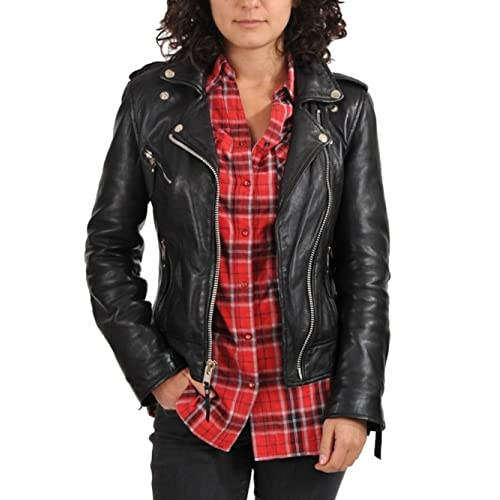 37c4e007c9a World of Leather Women's Biker Moto Lambskin Leather Jacket