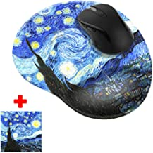 WIRESTER The Starry Night Van Gogh Comfortable Wrist Support Mouse Pad for Home and Office with Matching Microfiber Cleaning Cloth for Computer and Mobile Screens