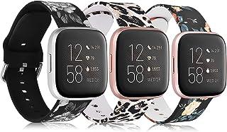 QINGQING متوافق مع Fitbit Versa/Fitbit Versa 2 / Fitbit Versa Lite Band للنساء والرجال، سوار معصم بديل من السيليكون بالزهو...