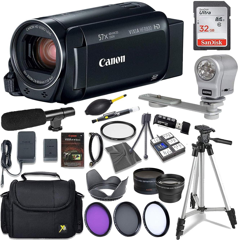 Canon VIXIA HF R800 Full HD Camcorder, CMOS Sensor, 57x Advanced Zoom, Fast & Slow Motion Recording + Sunpak LED Video Light and More Accessories