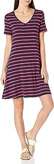 Amazon Essentials Short-Sleeve V-Neck Swing Dress Dresses Donna