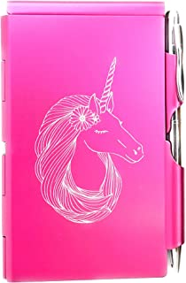 Wellspring Flip Note, Metal Pocket-sized Notebook with Pen,Pink Unicorn (15107)