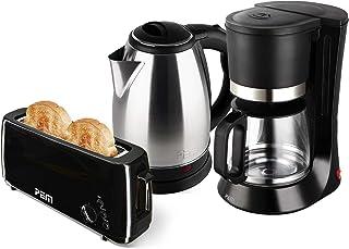 Bouilloire en inox 1500W 1.8L + Grille pain 1 fente longue 1000W + Cafetière 680W - 1.2L