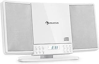 auna V14 - Equipo estéreo Vertical, Teproductor de CD con MP3, Sintonizador FM, Función Bluetooth, Entrada AUX, Conector d...