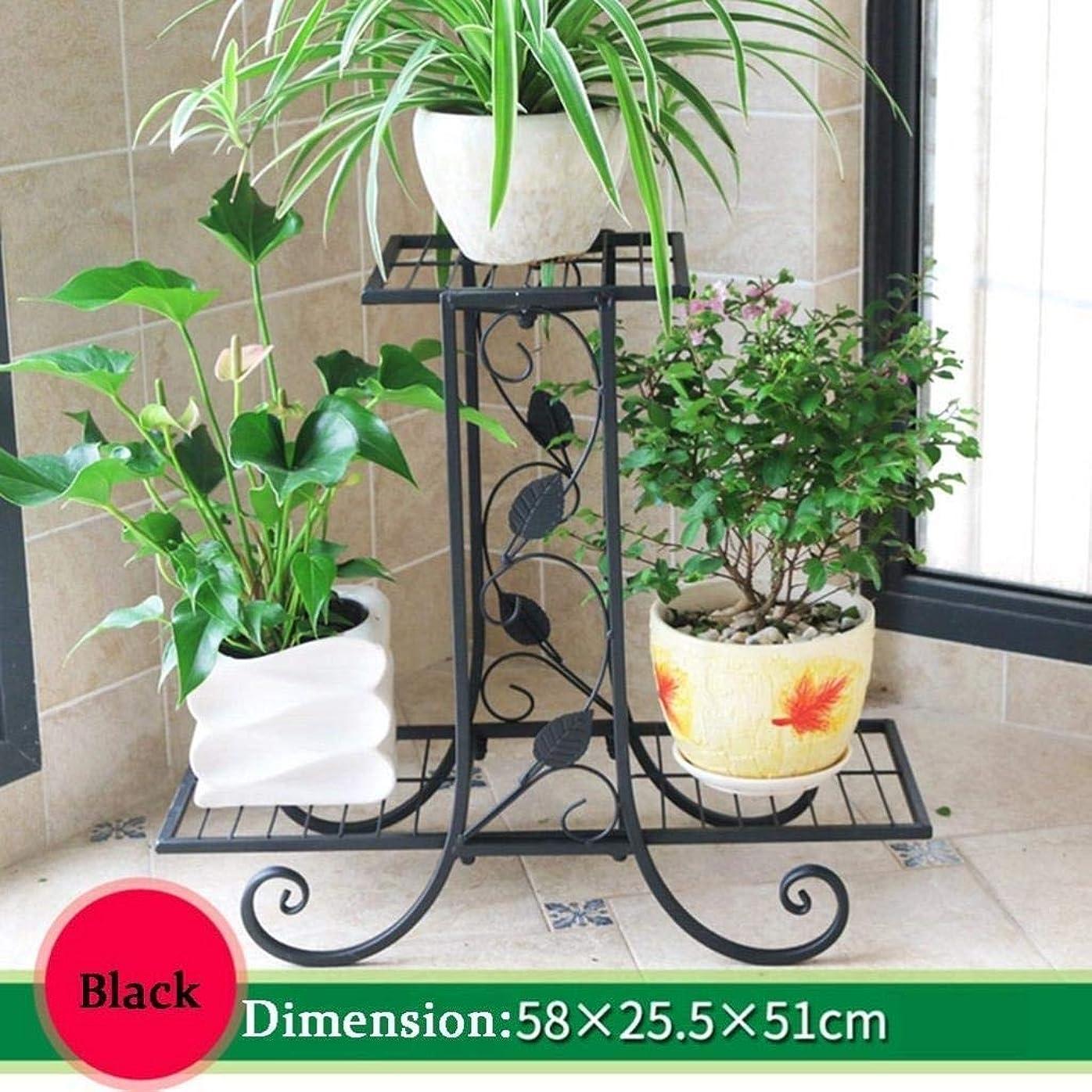 フォーカスシャイニング骨髄フラワースタンド、金属フロアスタンドフラワーポット植物ディスプレイスタンド、3層多機能ラック、屋内または屋外のリビングルーム、バルコニー、庭の装飾フレーム58×25×51センチ (Color : Black)