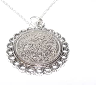 Fine Pendant 1959 Lucky Sixpence 60th Birthday Plus a Sterling Silver 22in Chain
