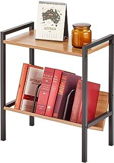 mDesign table d'appoint avec étagère à livres – meuble bibliothèque au style industriel à 2 niveaux en métal et bois – pet...