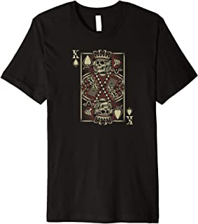 Biker King of Spades Card Game Poker Skull Motorcycle Premium T-Shirt