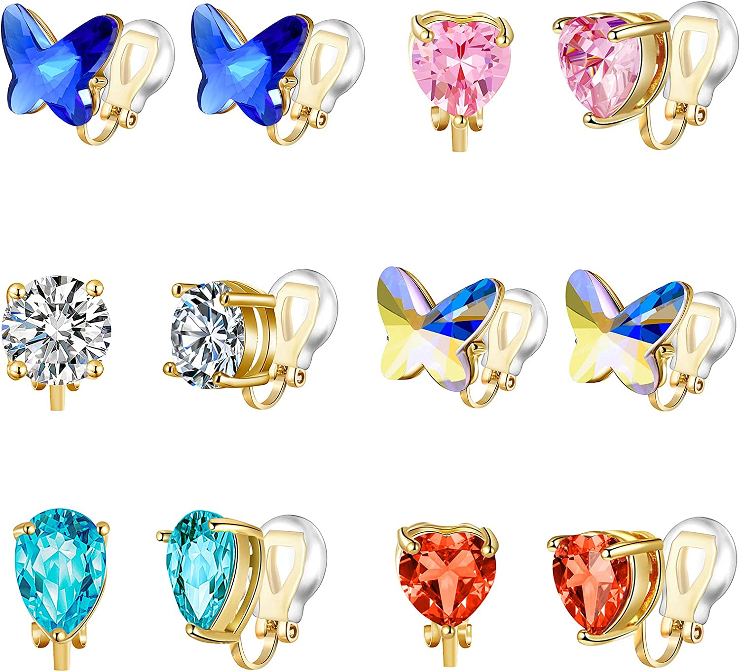 6/10 Pairs Clip on Earrings for Women - Vibrant Color Birthstone Clip on Earrings for Girls - Fake Earrings for Women Girls Clip on Earrings Kids