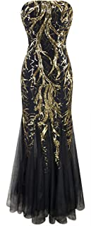 Women's Sequin Strapless Paillette Tree Branch Tulle Mermaid Evening Dress