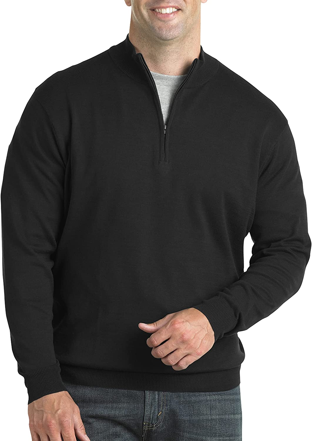 Harbor Bay by DXL Big and Tall Quarter-Zip Pullover Sweater