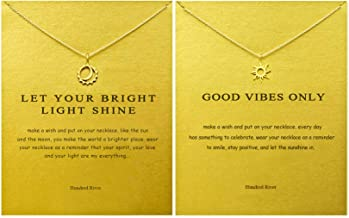 Hundred River Friendship Sun Necklace Moon and Sun Necklace with Message Card Gift Card (Sun Necklace Moon and Sun Necklace)
