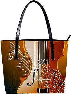 Lorvies - Borsa a tracolla in pelle PU con note musicali di violino, da donna