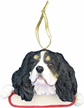 E&S Pets King Charles Cavalier Ornament Tri Color Santa's Pals with Personalized Name Plate A Great Gift for King Charles Cavalier Lovers