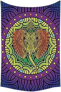 JAMES STRAIN Animal Tapestry Decor Divine Elephant Head Inside Mandala Pattern Unique Oriental Modern Age Street Art Print Wall Hanging for Bedroom Living Room Dorm Multi