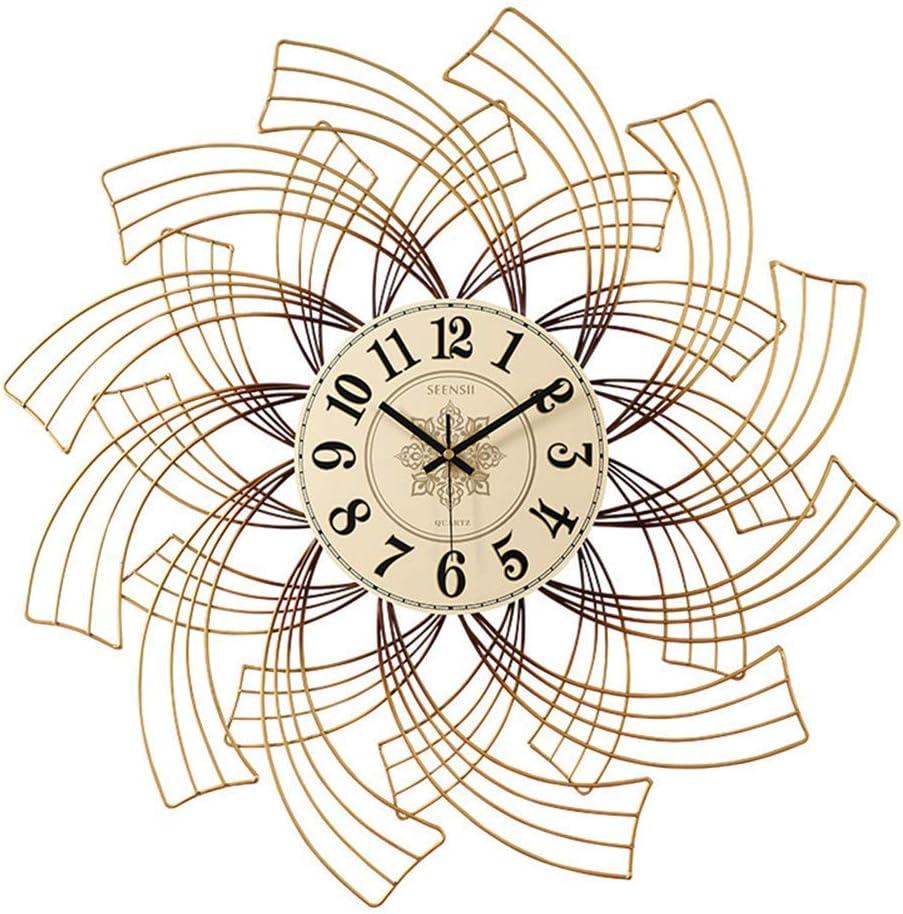 AMYZ Reloj de Pared Grande para Sala de Estar,diseño Moderno con Rayos de Sol,Reloj de Pared Retro a la Antigua,decoración del hogar,Movimiento de Cuarzo silencioso Que no Hace tictac,Funciona co