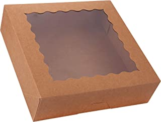 "15-Pack Pie Boxes 10"" x 10"" x 2.5"", Large Kraft Cookie Boxes with Window, Brown Bakery Boxes for Muffins, Donuts and Pastries"