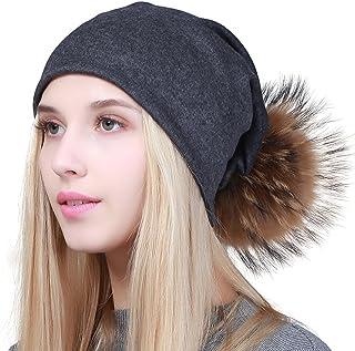 0d9f9565f40 GEEBRO Women Winter Pom Pom Beanie Hat with Soft Slouchy Snow Knit Cotton  Skull Cap
