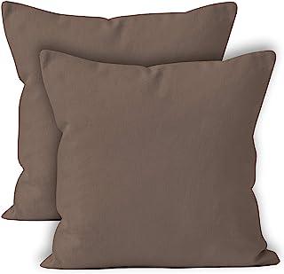 Encasa Homes poszewki na poduszki dekoracyjne zestaw 2 szt. – Jednolite barwione bawełniane płótno; dekoracyjne; duże kwad...
