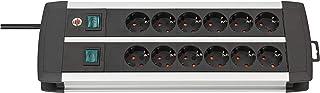 Brennenstuhl 1391000912 Premium-ALU-Line regleta 12 enchufes y 2 Individuales (Cable de 3m, Fabricada en Aluminio, Interruptor, protección Infantil) Plateado, 230 V, Plata y Negro, 44.5 cm