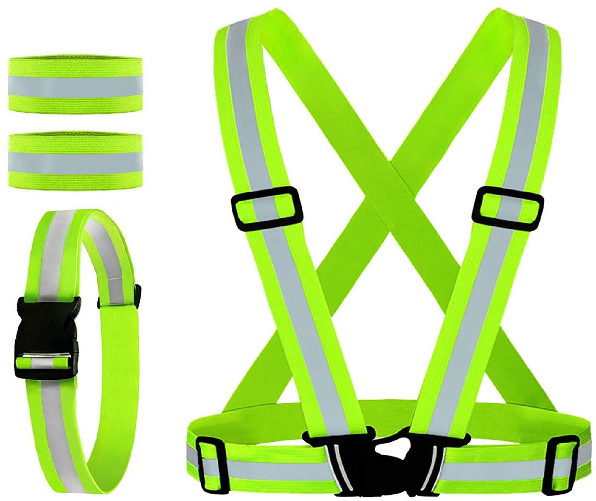 tama/ño ligero equipo de running para correr bicicleta ciclismo amarillo WINOMO chaleco de running reflectante alta visibilidad chaleco de seguridad ajustable