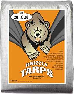 B-Air, Grizzly Tarp, 20X30, Multi Purpose Heavy Duty Waterproof Tarp, 14 x 14 Weave, Silver