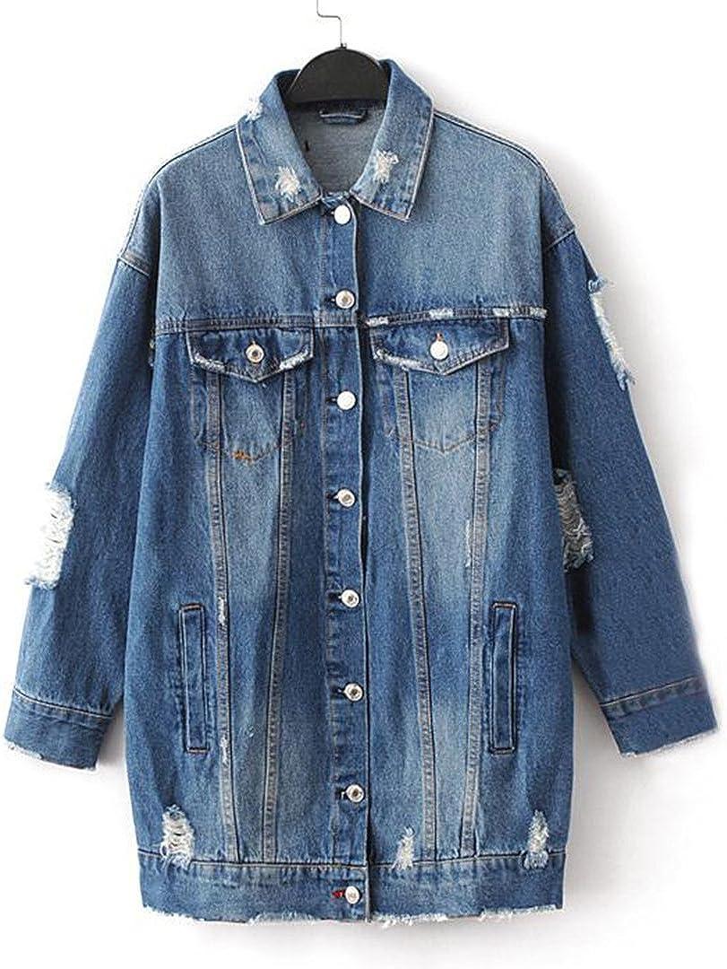 A Dash of Chic Women's Long Oversized Distressed Denim Jacket- Long Denim Mid-Wash Jacket