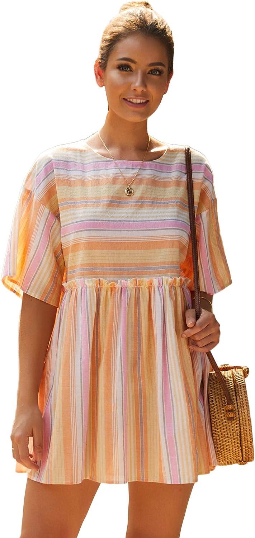 Romwe Women's Short Sleeve Round Neck High Waist Striped Frill Trim Loose Summer Mini Smock Dress