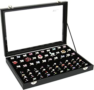 amzdeal Ring Box -100 Slots Jewelry Ring Display Case with Glass Top, Compact Ring Organizer, Ring Holder Jewelry Storage Tray, Ideal Gift for Women/Men, Black