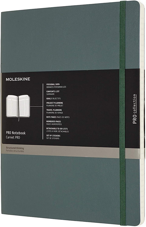 Moleskine - Cuaderno Profesional de Oficina, Cuaderno Para el Trabajo, Tapa Blanda y Cierre Elástico, Tamaño Grande 13 x 21, Color Verde Bosque 192 Páginas