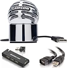 Samson Meteorite USB Condenser Microphone with Magnetic Desktop Base + USB 2.0 A Male to A Female Extension Cable + IOGEAR 4-Port USB 2.0 Hub