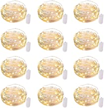 12 Pack Led Fairy Lights Battery Operated String Lights Waterproof Silver Wire, 7Ft 20 LED Firefly Starry Moon Lights for ...