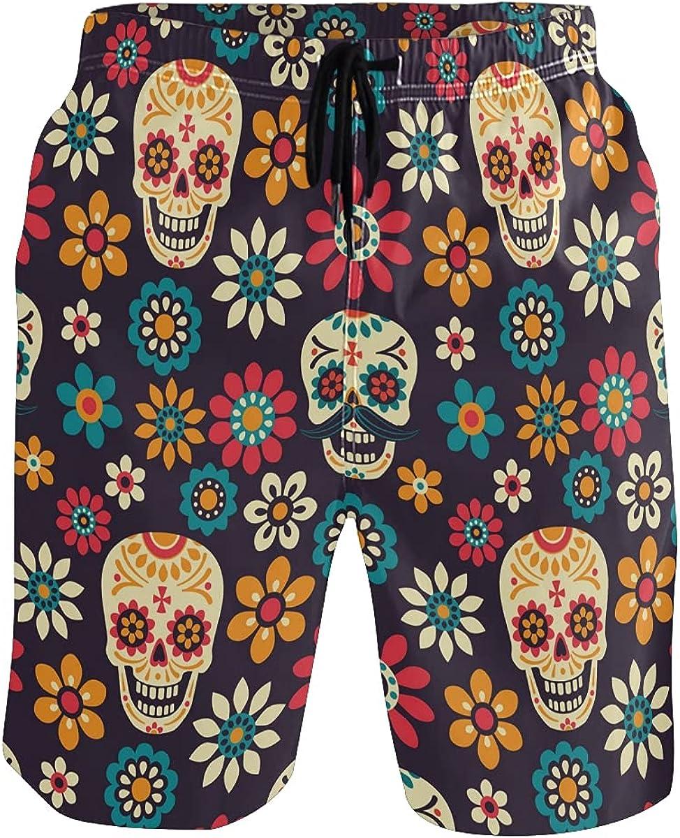 Men's Swim Trunks Sugar Skull Summer Beach Shorts, Flower Daisy