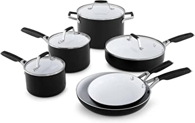 Amazon.com: Hamilton Beach 10pc Aluminum Cookware Set, Black, White ...