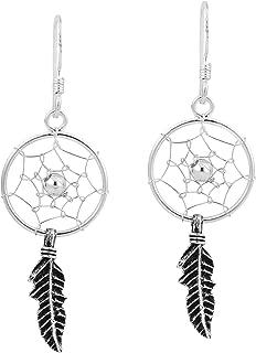 Native American Style Dream Catcher .925 Sterling Silver Dangle Earrings