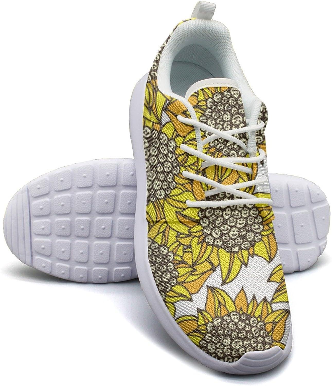 ERSER Yellow Sunflower Smile Face Running Tennis shoes for Women
